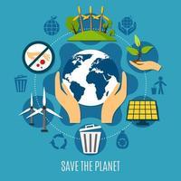 rädda planetkonceptet vektor