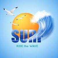 Surfen und Big Wave Poster vektor