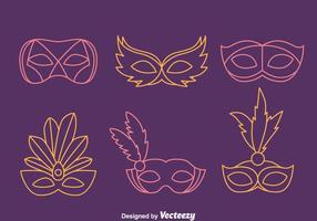 Masquerade Mask Line Vectors