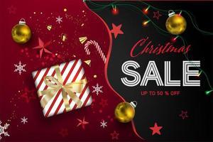 Weihnachtsverkauf Komposition mit Geschenk und Ornamenten vektor