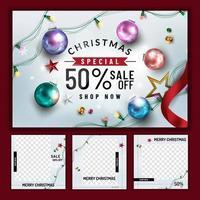 Weihnachtsverkauf Poster und Social Media Post Vorlagen vektor
