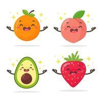 tecknad hälsosam fruktuppsättning med ansikten vektor