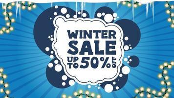 vinterförsäljning, rabattbanner med krans och istappar vektor