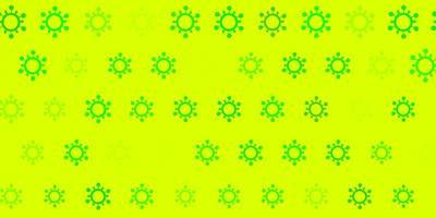 grüner Hintergrund mit Covid 19 Symbolen.