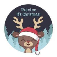 julhälsning med söt liten ren