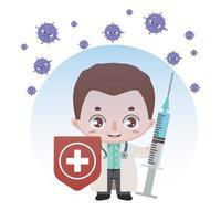 läkare skyddas mot koronavirus vektor