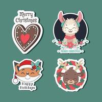 Satz von verschiedenen Weihnachtsaufklebern