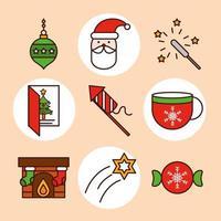 Weihnachtslinie und Füllsymbolsatz