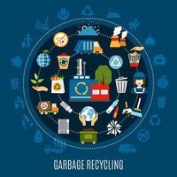 Müllabfuhr runde Zusammensetzung vektor