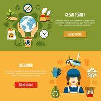 Green Planet Reinigung Vorlage Banner Sammlung vektor