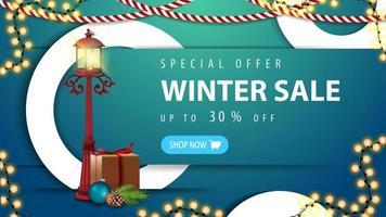 vinterförsäljning, blå rabattbanner med knapp vektor