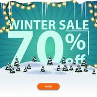 Winterverkauf, quadratisches Rabattbanner mit Winterlandschaft
