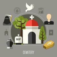 Friedhofskonzeptkarte vektor