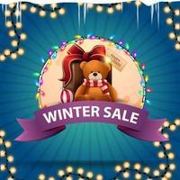 Winterschlussverkauf, rundes Rabattbanner mit Band vektor