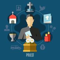 Priester-Konzeptkarte vektor