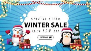 Winterschlussverkauf, blaues Rabattbanner mit Girlanden vektor