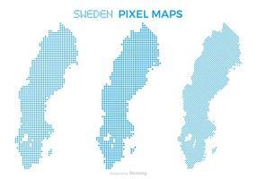 Pixel Sweden Map Vector Set