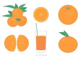 Flaches Clementine Vektor Set