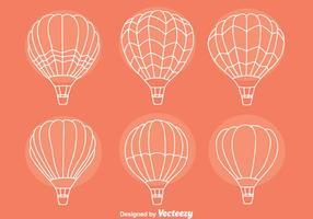 Skizze Heißluftballon-Sammlungsvektoren