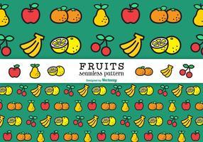 Flache Linie Früchte Vektor nahtlose Muster