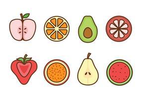 Frukt ikonuppsättning