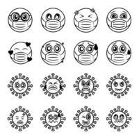 Emoticon mit Gesichtsmaske und Coronavirus-Symbolsatz