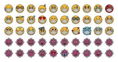 emoticon med ansiktsmask och coronavirus ikonuppsättning vektor