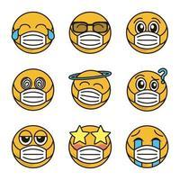 emoticon med ansiktsmask ikonuppsättning vektor