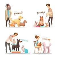Cartoon Haustier Besitzer Set vektor