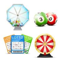 realistisk lotteritillbehörsset vektor