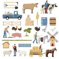 samling av boskapsdjurselement vektor