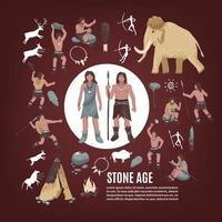 Steinzeit Menschen Icon Set vektor
