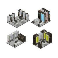 datacenter isometrisk komposition uppsättning