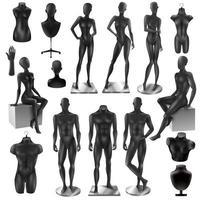 Satz schwarze weibliche und männliche Mannequins vektor