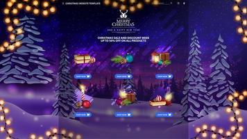 Weihnachtswebsite-Vorlage mit Waren vektor