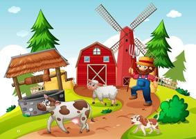 jordbrukare med djurgård i gårdsplats i tecknad stil vektor