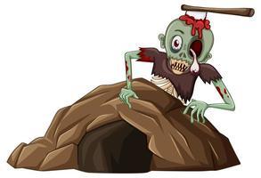 Zombie mit kleiner Höhle lokalisiert auf weißem Hintergrund