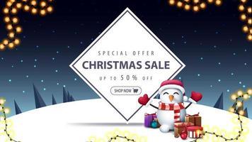 jul försäljning, rabatt banner med snögubbe vektor