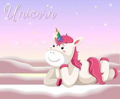 glückliches Einhorn, das Zeichentrickfigur auf rosa Pastellhintergrund legt