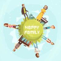 lycklig familj rund sammansättning vektor