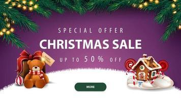 jul försäljning, lila rabatt banner vektor