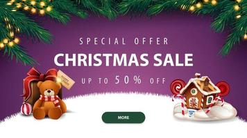 Weihnachtsverkauf, lila Rabatt Banner vektor