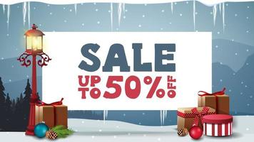 julförsäljning, rabattbanner med vitbok vektor