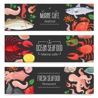 färska skaldjur banner uppsättning