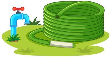 Wasserschlauch mit Wasserhahn und Naturelementen