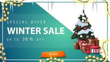 Winterschlussverkauf, Rabatt-Banner mit orangefarbenem Knopf
