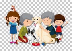 altes Paar und Enkelkind mit ihren Haustierhunden lokalisiert auf transparentem Hintergrund
