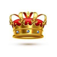 realistisk guld- och röd sammet kunglig krona vektor