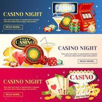 kasino natt horisontell mall banner set vektor