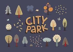 stadspark mörk set vektor